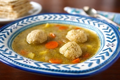 Photo of Spring Vegetable Soup with Vegan Matzo Balls by Susan Voisin, courtesy VegKitchen.com
