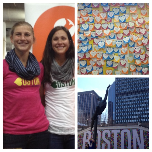 Lauren Fleshman (L) and Kara Goucher (R); scenes from Boston Marathon weekend